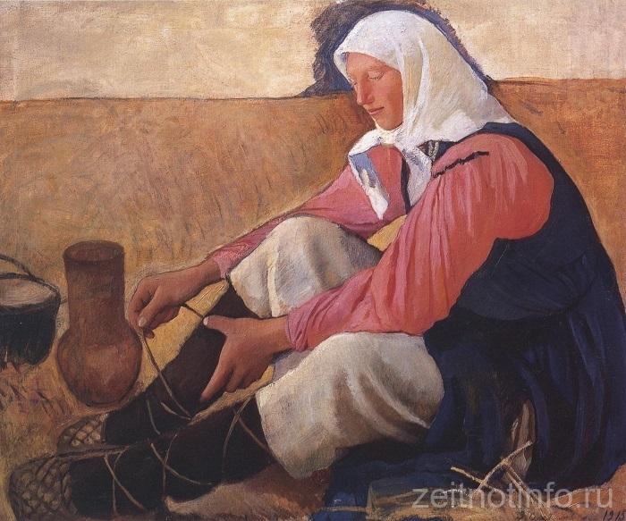 zs-3-z.e.-serebryakova.-obuvayushhayasya-krestyanka.-1915.-h.m.-82-h-98.-grm.